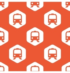 Orange hexagon train pattern vector