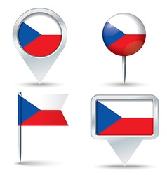 Map pins with flag of czech republic vector