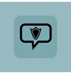 Pale blue shield message icon vector