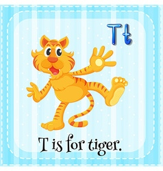 Flashcard of letter T vector image