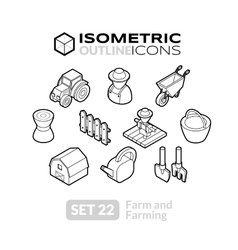 Isometric outline icons set 22 vector