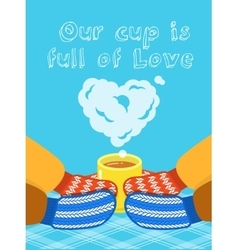 Valentines day card with hands and cup vector