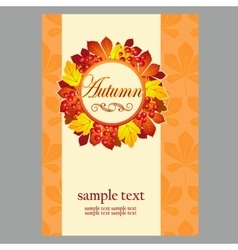 Poster in yellow colors with autumn leaves vector