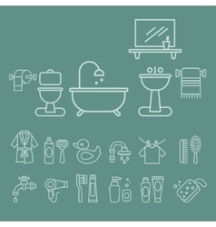 Various Bathroom Elements Icons Set vector image