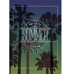 Exotic background with palms and summer label vector