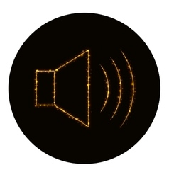 Audio speaker volume icon of gold lights vector