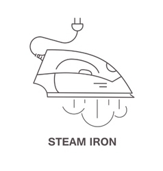 Simple icon iron with steam vector