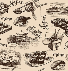 Hand drawn vintage japanese seamless pattern menu vector
