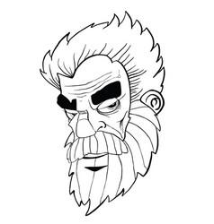 bearded man black vector image vector image
