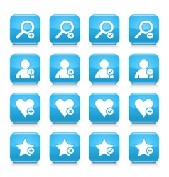 Blue additional sign square icon web button vector