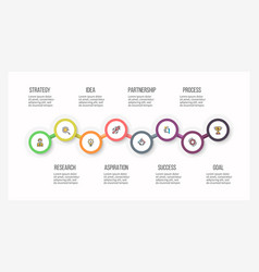 business infographics timeline with 8 steps vector image vector image