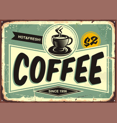 Coffee shop vintage tin sign vector