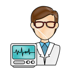 Doctor character with ekg machine vector