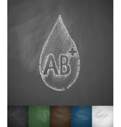 Drop of blood ab icon vector