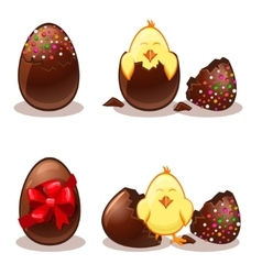 Easter chocolate eggs and chik vector image vector image
