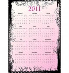 European floral grungy calendar 2011 vector image vector image