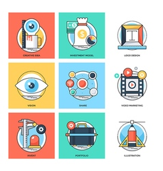 Flat color line design concepts icons 24 vector