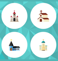 Flat icon church set of religious christian vector