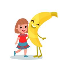 Happy little girl hugging giant smiling banana vector