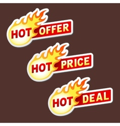 Hot offer price and deal flame sticker badges vector image vector image