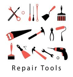 Icon set repair tools vector