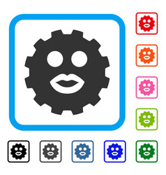 Kiss smiley gear framed icon vector