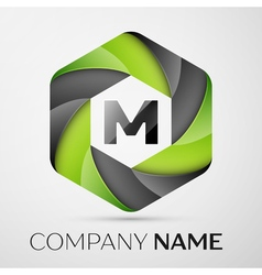 M letter colorful logo in the hexagonal on grey vector