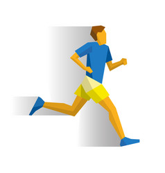 Marathon runner on white background with shadows vector