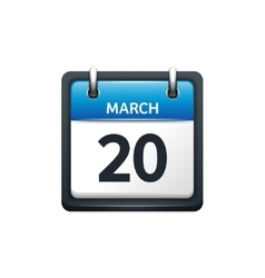 March 20 calendar icon flat vector