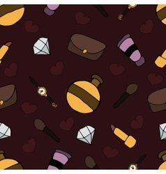 Pattern with different cosmetic and objects vector image