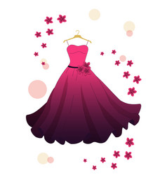 Pink evening dress vector