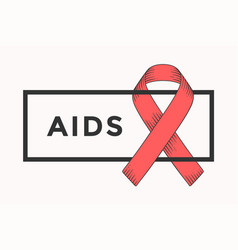 Poster and banner with text aids and red ribbon vector