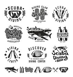 Scuba diving emblems vector