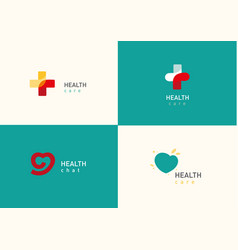 set bright logo on medicine and health cross vector image vector image