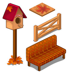 Set of fences coverings birdhouse and sofa vector