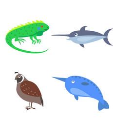 set of four wild animal for children flat design vector image vector image