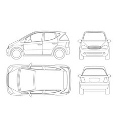 Small compact electric vehicle or hybrid car on vector