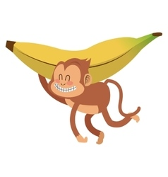 smiling monkey with banana cartoon icon vector image