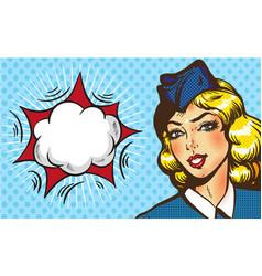 stewardess airplane travel tourism pop art retro vector image vector image