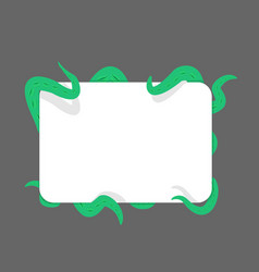 Tentacle and banner green monster hugging white vector