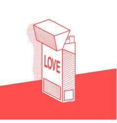 The pack of cigarettes with inscription love vector
