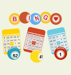 Three bingo balls and cards on light green vector