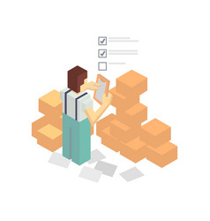 Warehouse worker with delivery boxes vector