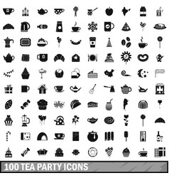 100 tea party icons set simple style vector