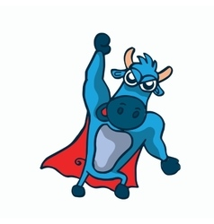 Cute super buffalo cartoon design vector