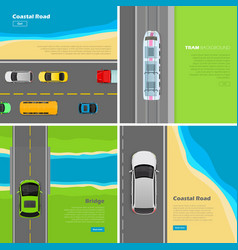 Modern highway flat web banners set vector