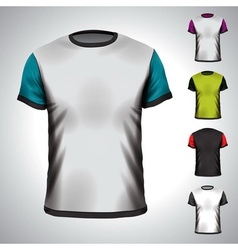 T-shirt design template in various colors vector