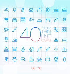 40 trendy thin icons for web and mobile set 16 vector