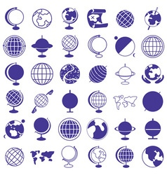 Globe earth icons on white vector