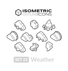 Isometric outline icons set 23 vector